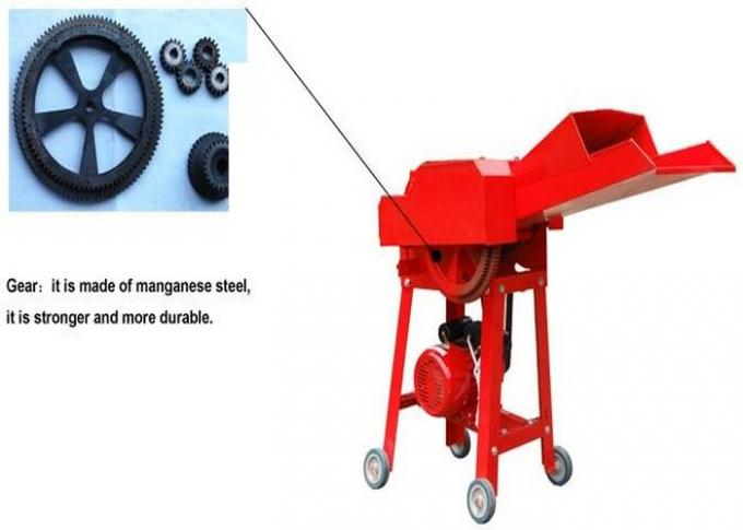 Red Livestock Farming Equipment , Steel Material Small Chaff Cutter Machine